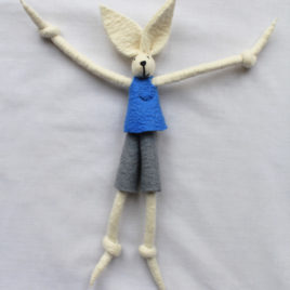 Handmade Felt Fun Bunny – Blue Boy