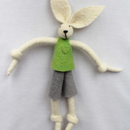 Handmade Felt Fun Bunny – Lime Green Boy