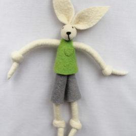 Handmade Felt Fun Bunny – Lime Green Boy