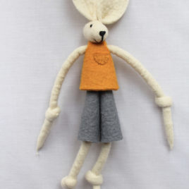 Handmade Felt Fun Bunny – Mustard Yellow Boy