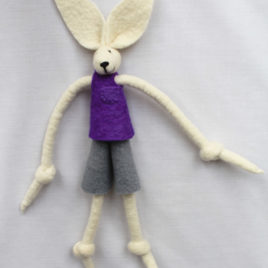 Handmade Felt Fun Bunny – Purple Boy