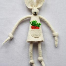 Handmade Natural Felt Carrot Bunny