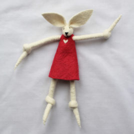 Handmade Felt Fun Bunny – Dark Pink Girl