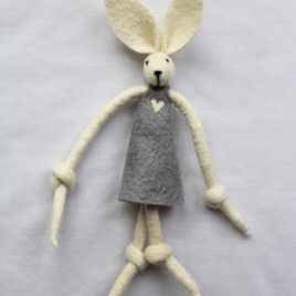 Handmade Felt Fun Bunny – Grey Girl