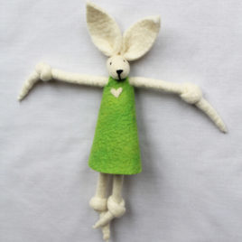 Handmade Felt Fun Bunny – Lime Green Girl