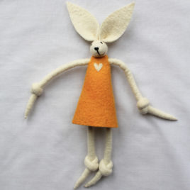 Handmade Felt Fun Bunny – Mustard Yellow Girl