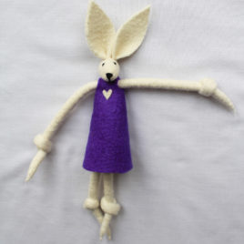 Handmade Felt Fun Bunny – Purple Girl