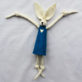 Handmade Felt Fun Bunny – Teal Girl