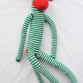 Knitted Monkey – Green and White Striped
