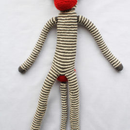 Knitted Monkey – Grey and White Striped