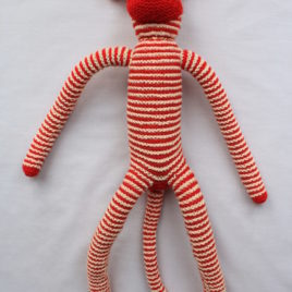 Knitted Monkey – Red and White Striped