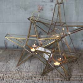 Antique Brass Standing Star Lanterns