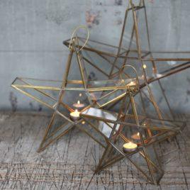Antique Brass Standing Star Lanterns