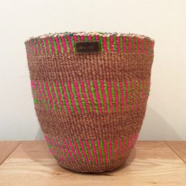 Mahiri (Clever One) Pink, Green and Natural Sisal Basket