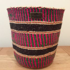 Jamani (Friendship) Pink, Green and Black Sisal Basket