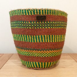 Hazina (Treasure) Natural, Green and Yellow Sisal Basket