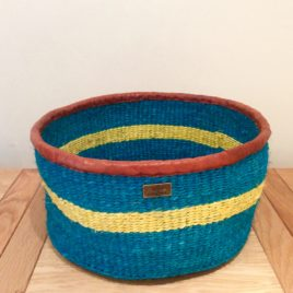 Djimon (Powerful) Turquoise and Yellow Sisal Basket