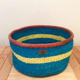 Djimon (Powerful) Turquoise and Yellow Sisal Basket