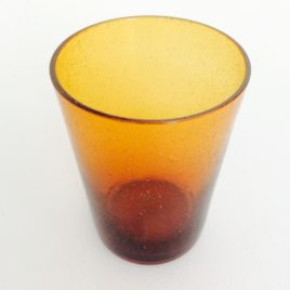 Handmade Bubble Glass Tumbler – Almond Shell Yellow