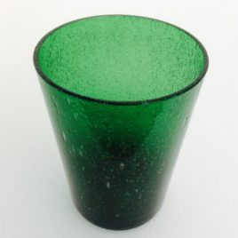 Handmade Bubble Glass Tumbler – Emerald Green