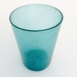Handmade Bubble Glass Tumbler – Petrol Blue