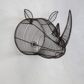 Wire Rhinoceros Head Wall Sculpture