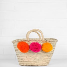 Market Baskets – Mini Pom Pom Shopper Orange, Pink, Yellow