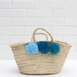 Market Baskets – Mini Pom Pom Shopper Blue Ombré