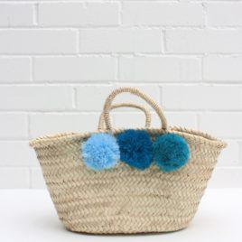 Market Baskets – Mini Pom Pom Shopper Blue Ombré