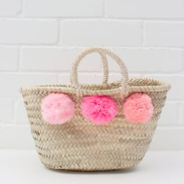 Market Baskets – Mini Pom Pom Shopper Pink Ombré