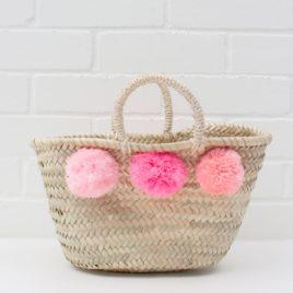 Market Baskets – Mini Pom Pom Shopper Pink Ombré