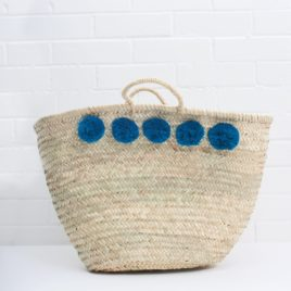 Market Baskets – 5 Pom Pom Shopper Teal