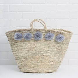 Market Baskets – 5 Pom Pom Shopper Grey