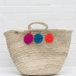 Market Baskets – 3 Pom Pom Shopper Fuschia, Teal, Orange