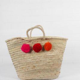 Market Baskets – 3 Pom Pom Shopper Fuschia, Red, Orange