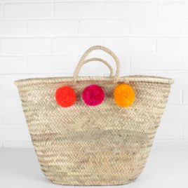 Market Baskets – 3 Pom Pom Shopper Orange, Fuschia, Yellow