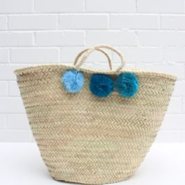 Market Baskets – 3 Pom Pom Shopper Blue Ombré