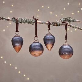 Dark Smoke & Antique Copper Baubles – Set of 4