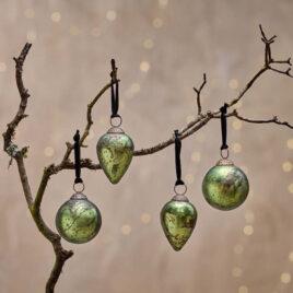 Antique Moss Green Baubles – Set of 4