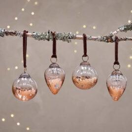 Clear & Antique Copper Baubles – Set of 4