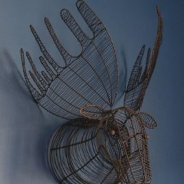 Wire Moose Head Wall Sculpture