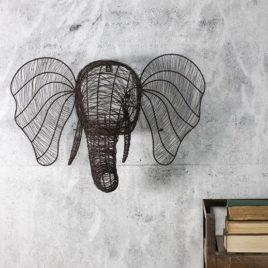 Wire Elephants Head Wall Sculpture