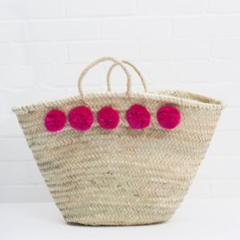 Market Baskets – 5 Pom Pom Shopper Fuschia
