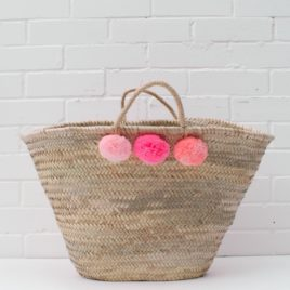 Market Baskets – 3 Pom Pom Shopper Pink Ombré