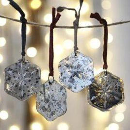 Antique Mirror Snowflake Baubles (Set of 4)
